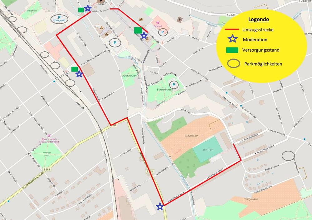 Streckenverlauf in Strecke / Parken